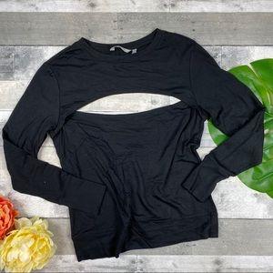 Athleta long sleeve black open top yoga